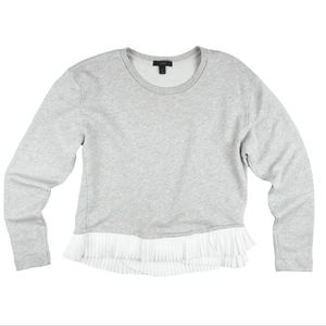 JCREW Gray Ruffle Hem Sweatshirt Top